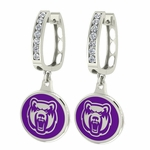 Central Arkansas Bears Enamel Large CZ Hoop Earrings