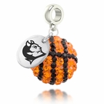 Central Connecticut Blue Devils Crystal Basketball Dangle Bead