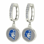 Central Connecticut Blue Devils Enamel Large CZ Hoop Earrings