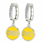 Central Michigan Chippewas Enamel Large CZ Hoop Earrings