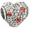 Chamilia 2014 Limited Edition Pave Heart Pink Swarovski Crystals Bead
