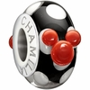 Chamilia Disney Red Minnie Mouse Black and White Murano Glass Bead