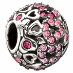 Chamilia Pink Captured Hearts Swarovski Crystal Bead