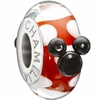 Chamilia Red White Disney Minnie Mouse Murano Glass Bead