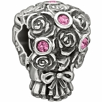 Chamilia Silver Pink Crystal Wedding Bouquet of Roses Bead