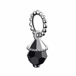Chamilia Silver Teardrop Crystal Jet Accent Charm