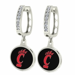 Cincinnati Bearcats Enamel Large CZ Hoop Earrings