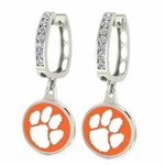 Clemson Tigers Enamel Large CZ Hoop Earrings