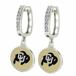 Colorado Buffalos Enamel Large CZ Hoop Earrings