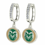 Colorado State Rams Enamel Large CZ Hoop Earrings