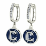 Connecticut Huskies UCONN Enamel Large CZ Hoop Earrings