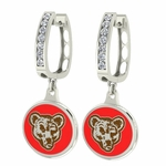 Cornell Big Red Enamel Large CZ Hoop Earrings