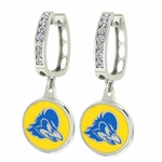 Delaware Blue Hens Enamel Large CZ Hoop Earrings