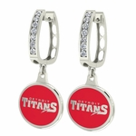 Detroit Mercy Enamel Large CZ Hoop Earrings