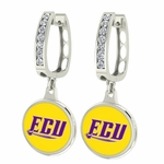 East Carolina ECU Pirates Enamel Large CZ Hoop Earrings