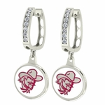 Eastern Kentucky Colonels Enamel Large CZ Hoop Earrings