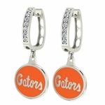 Florida Gators Enamel Large CZ Hoop Earrings