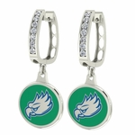 Florida Gulfcoast FGCU Enamel Large CZ Hoop Earrings