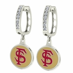Florida State Seminoles Enamel Large CZ Hoop Earrings