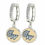 George Washington Colonials Enamel Large CZ Hoop Earrings
