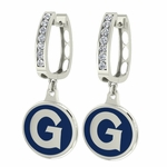 Georgetown Hoyas Enamel Large CZ Hoop Earrings