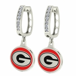 Georgia Bulldogs Enamel Large CZ Hoop Earrings
