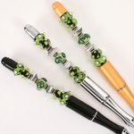 Green White Black Bead Pen Set