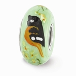 Hand Painted Glass Baltimore Oriole Bead