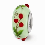 Hand Painted Glass Cherry Delights Bead