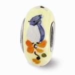 Hand Painted Glass Fluffy Baby Blue Jay Bead