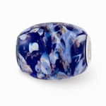 Hand Painted Glass Large Blue Danube Bead