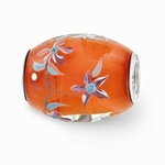 Hand Painted Glass Large Coral Bouquet Bead