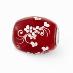 Hand Painted Glass Large Two Hearts Are One Bead