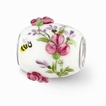 Hand Painted Glass Large Victorian Garden Bead