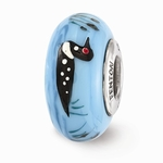 Hand Painted Glass Melancholy Loon Bead