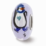 Hand Painted Glass Penguin Playtime Bead