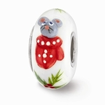 Hand Painted Glass Snuggles Bead