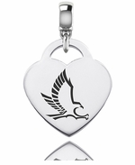 Hartford Hawks Silver Heart Dangle Bead