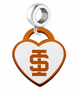 Idaho State Bengals Color Heart Dangle Bead