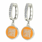 Idaho State Bengals Enamel Large CZ Hoop Earrings
