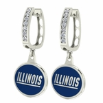 Illinois Fighting Illini Enamel Large CZ Hoop Earrings