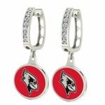Illinoise State Redbirds Enamel Large CZ Hoop Earrings