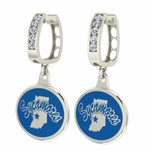 Indiana State Sycamores Enamel Small CZ Hoop Earrings