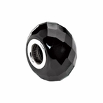 Kera Silver Faceted Black Onyx Natural Stone Bead