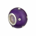 Kera Silver Glass Purple Crystal Bead
