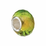 Kera Silver Green/Yellow Faceted Glass Bead