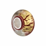 Kera Silver Red/Gold Glass Bead