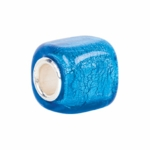 Kera Silver Turquoise Square Glass Bead