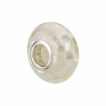 Kera Silver White Mosaic Mother of Pearl Bead