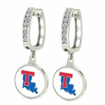Louisiana Tech Enamel Large CZ Hoop Earrings
